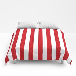 Narrow Vertical Stripes - White and Fire Engine Red Comforters
