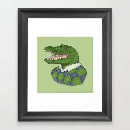 Argyle Crocodile Framed Art Print