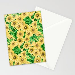 Yellow watercolor petunia flower pattern Stationery Cards