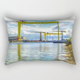 The Cranes of Belfast, Ireland. (Painting) Rectangular Pillow