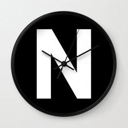 Letter N (White & Black) Wall Clock