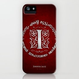 Joshua 24:15 - (Silver on Red) Monogram I iPhone Case