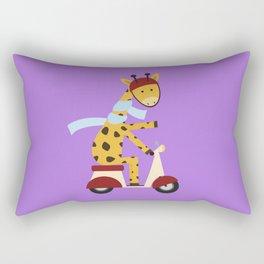 Giraffe on Motor Scooter Rectangular Pillow