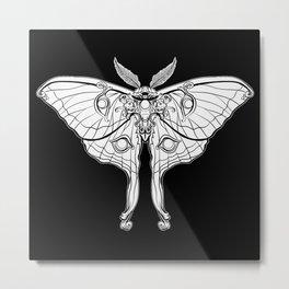 Art Nouveau Moth (black background) Metal Print