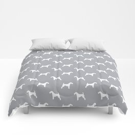 Airedale Terrier grey and white minimal dog pattern dog silhouette pattern Comforters