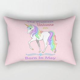 Pretty Rainbow Unicorn May Birthday Girl Rectangular Pillow