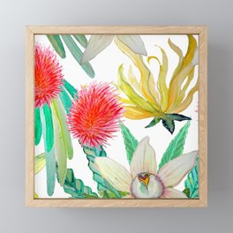 Exotic watercolor floral with tropical fruits and flowers Framed Mini Art Print