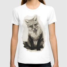 Fox Say What?! White Womens Fitted Tee MEDIUM