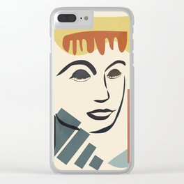 Abstract Face III Clear iPhone Case