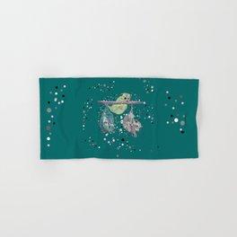 Green possum trio on a branch - Teal Hand & Bath Towel