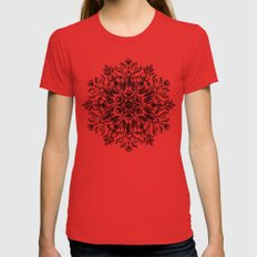 Thrive - Monochrome Mandala Red LARGE Womens Fitted Tee