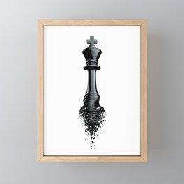Farewell to the King / 3D render of chess king breaking apart Framed Mini Art Print