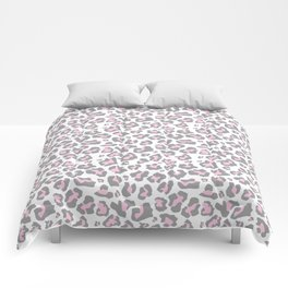 Pastel pink gray vector modern cheetah animal print Comforters