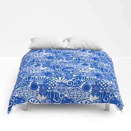 Chinese Symbols in Blue Porcelain Comforters