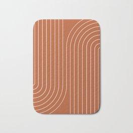 Minimal Line Curvature - Coral Red Bath Mat