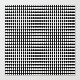 mini Black and White Mini Diamond Check Board Pattern Canvas Print