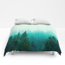 Fog Foggy Samish Forest Woods Mountain Northwest Washington Landscape Comforters