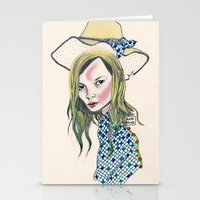 kate moss Stationery Cards featuring Kate Moss by Sindecualo