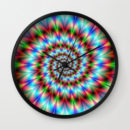 Spiral Rosette in Blue Green and Red Wall Clock