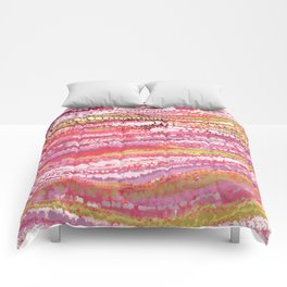 Pink Brush Dots Comforters