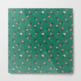 Falling Strawberries Pattern in Green Metal Print
