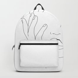 Minimal Line Art Woman with Hands on Face Backpack