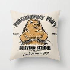 Punxsutawney Phil's Driving School Throw Pillow