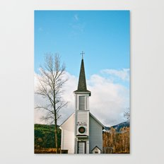 Country Church in the Mountians Canvas Print