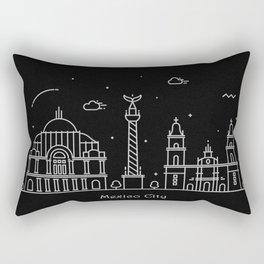 Mexico City Minimal Nightscape / Skyline Drawing Rectangular Pillow