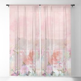 Modern blush watercolor ombre floral watercolor pattern Sheer Curtain