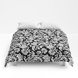 Black And White Vintage Floral Damasks Comforters
