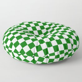 Small Checkered - White and Dark Green Floor Pillow
