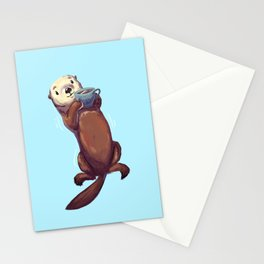 Tea Drinking Otter Stationery Cards
