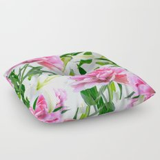 Pink Peonies & White Lilies Floor Pillow