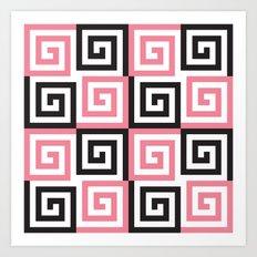 Black & pink Greek spiral Art Print