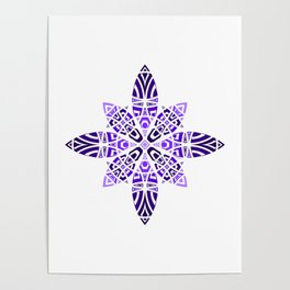 #11 Purple Violet Blue Geometric Floral Leaves Ornament Poster