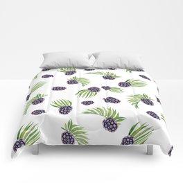 Hand painted black green watercolor fruity blackberries Comforters
