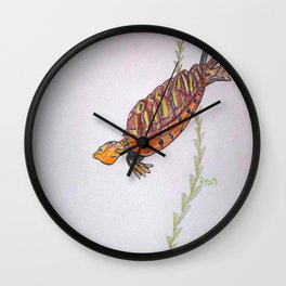 Red Eared Slider Turtle Wall Clock