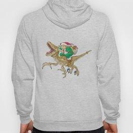 Christmas Elf Riding a Velociraptor Hoody
