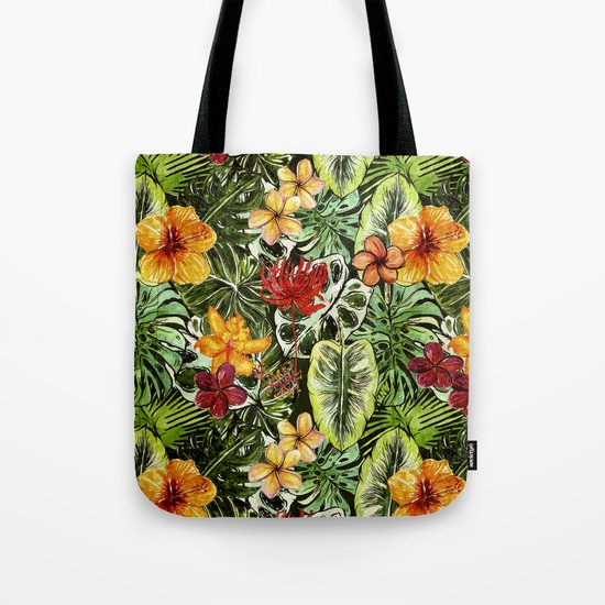 Tropical Vintage Exotic Jungle Flower Flowers - Floral watercolor pattern1on #Society6 Tote Bag