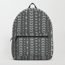 Dark charcoal gray and white boho tribal mudcloth pattern  Backpack
