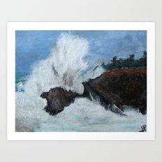 Oregon Waves Acrylic Painting Art Print