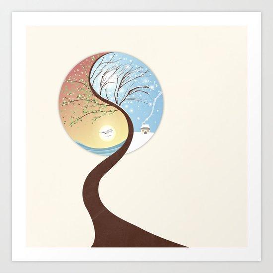 OPPOSITES LOVE - Yin-Yang Tree: Summer-Winter Art Print