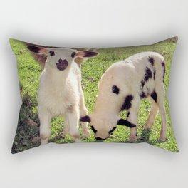 Ewe and Twin Spring Lambs Rectangular Pillow