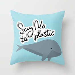 Say no to plastic. Whale, sea, ocean.  Pollution problem concept Eco, ecology banner poster. Throw Pillow