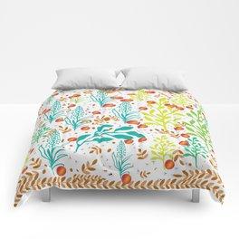 tropical peach in spring garden Comforters