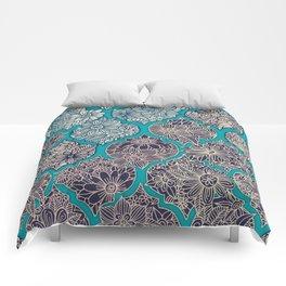 Moroccan Floral Lattice Arrangement - teal Comforters