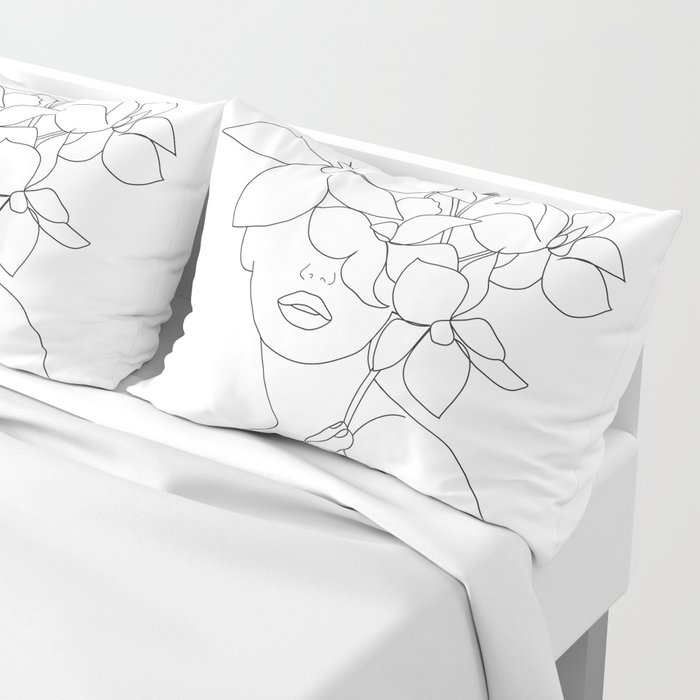 Minimal Line Art Woman with Orchids Pillow Sham