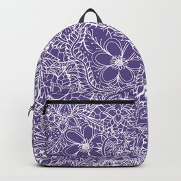 Modern white handdrawn floral pattern on purple ultra violet illustration Backpack