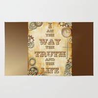 bible Area & Throw Rugs featuring Bible Verse Steampunk Way Truth Life by Whimsy and Nonsense